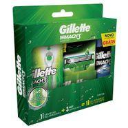 Kit-Aparelho-de-Barbear-Gillette-Mach3-Acqua-Grip-Sensitive---2-Cargas---Gel-de-Barbear-Complete-Defense-72ml