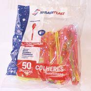 Colher-Para-Sobremesa-Mista-Neon-Strawplast-50-Unidades