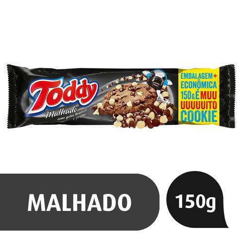 Biscoito Cookie Toddy Chocolate Malhado com Gotas Brancas e Pretas Pacote 150g Embalagem Econômica Cookies Toddy Malhado Pacote 150g