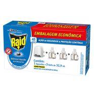 Kit-Raid-Aparelho---Refil-Repelente-Eletrico-Liquido-45-Noites-329ml-cada-3-Unidades