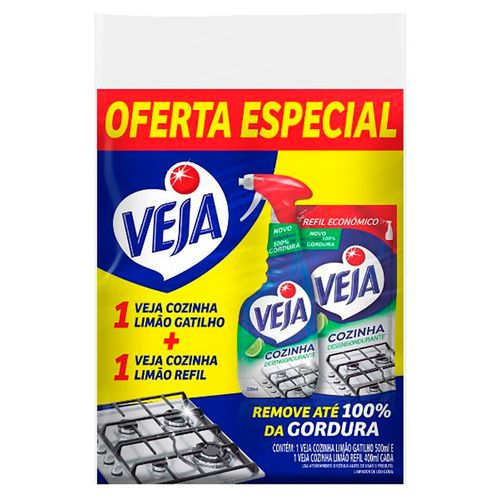 Kit-Veja-Limpador-Desengordurante-Cozinha-Limao-500ml---Refil-400ml